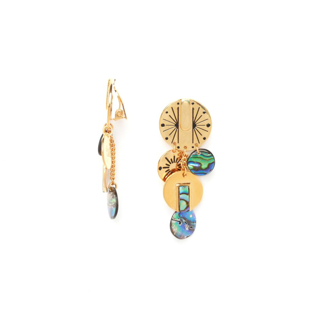 DANNA multi-disc dangle clip earrings