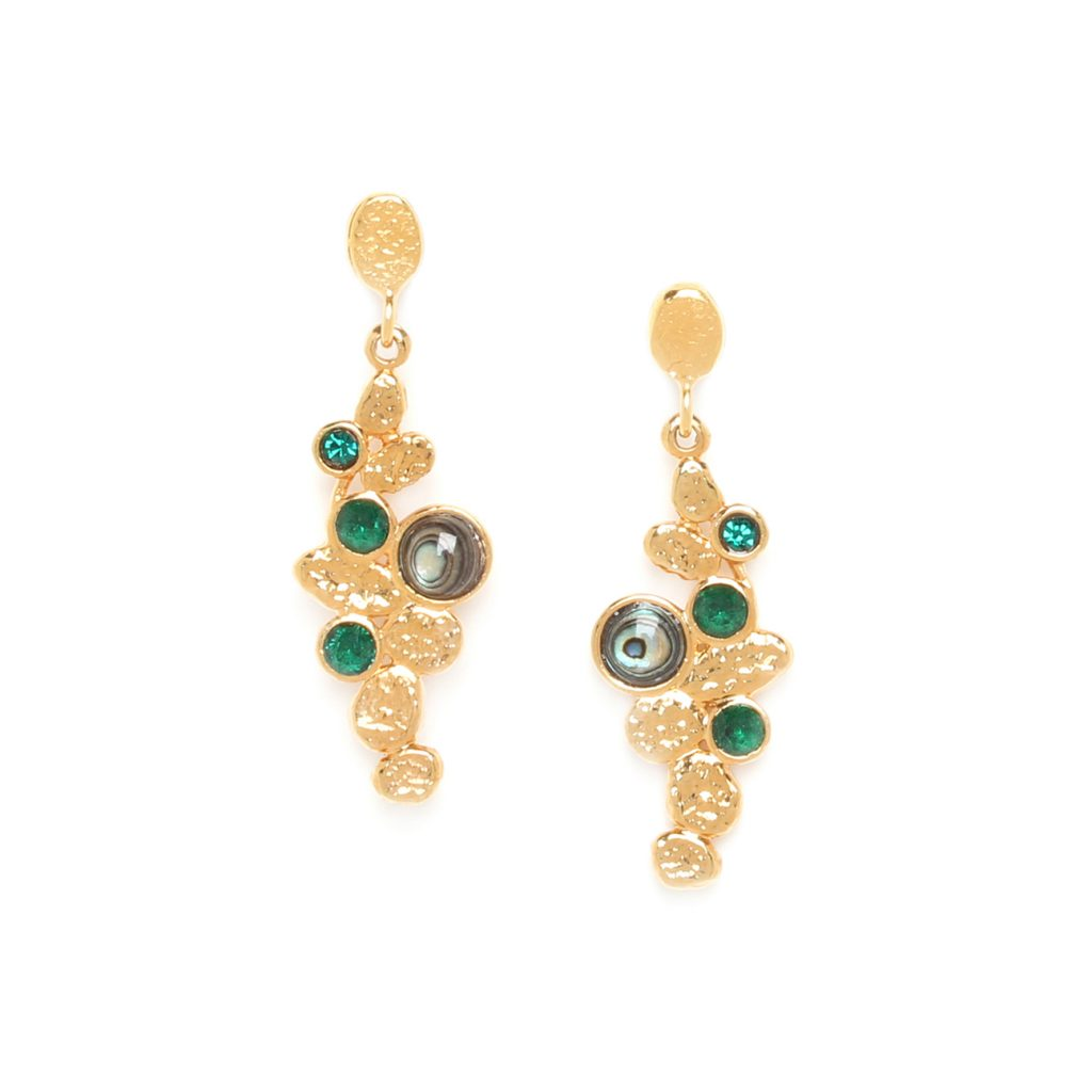 BECKY small oval post earrings (green)