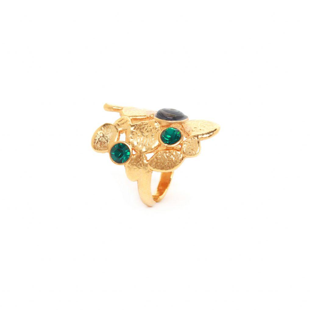BECKY organic shape ring (green)
